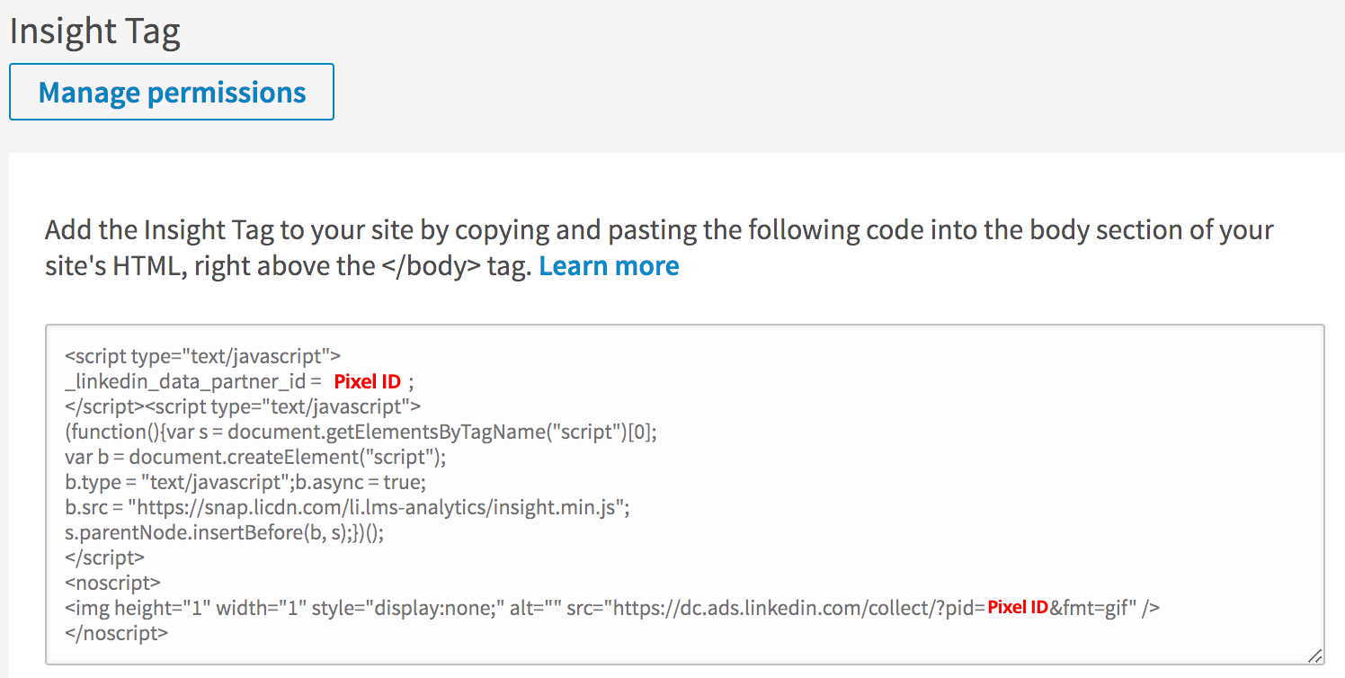 How do I find my LinkedIn Ads Pixel ID? (Insight Tag
