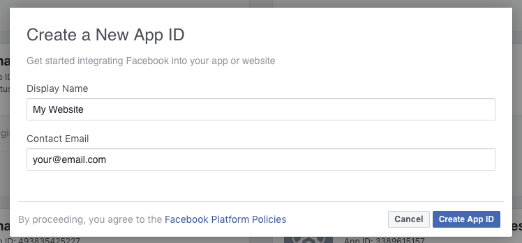 Facebook App - Add New App