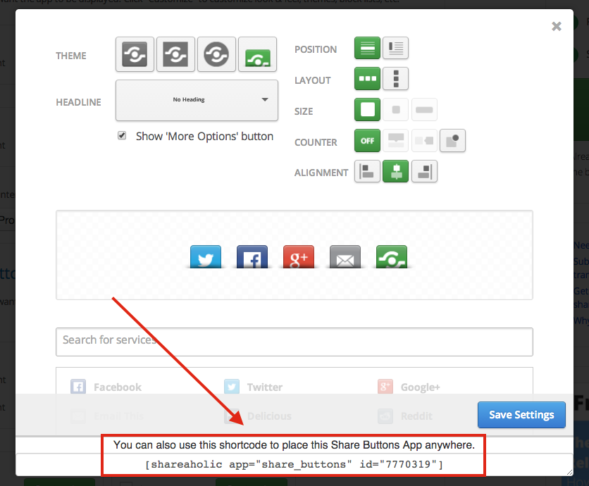Customize Shareaholic Location On Individual Wordpress Pages And
