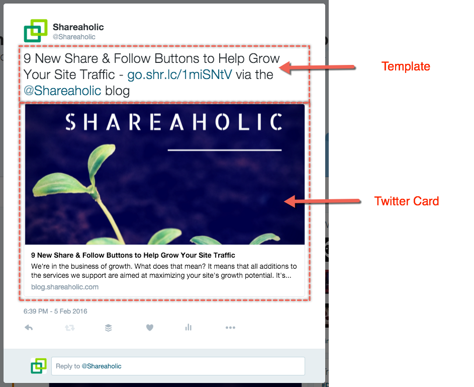 Customize Twitter handle URL Shortener Hashtag Shareaholic – Template Shares